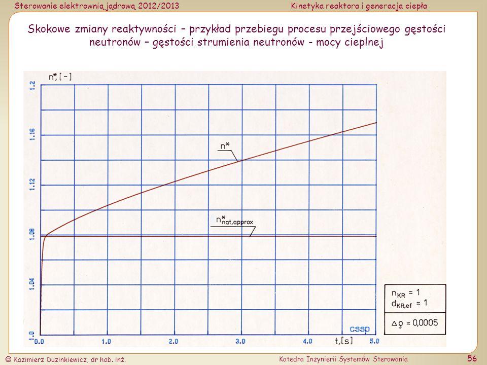Skokowe zmiany reaktywności – przykład przebiegu procesu przejściowego gęstości neutronów – gęstości strumienia neutronów - mocy cieplnej