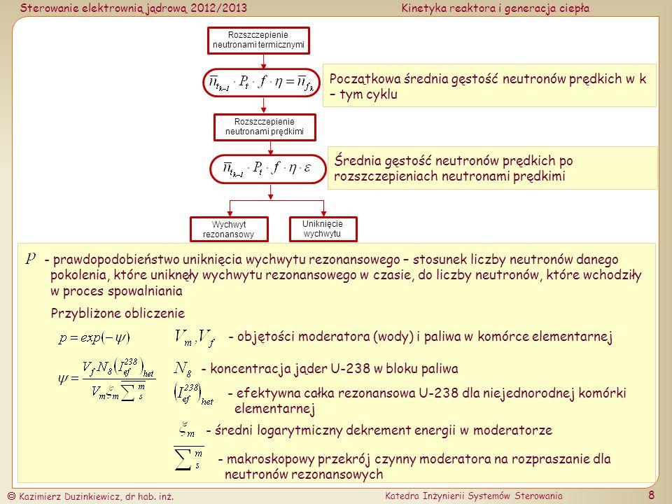 Początkowa średnia gęstość neutronów prędkich w k – tym cyklu