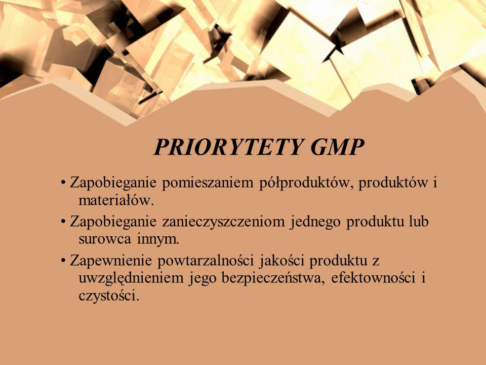 PRIORYTETY GMP • Zapobieganie pomieszaniem półproduktów, produktów i materiałów.