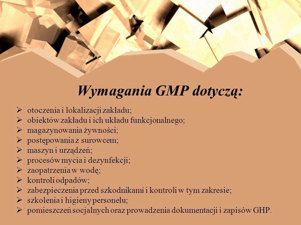 Wymagania GMP dotyczą: