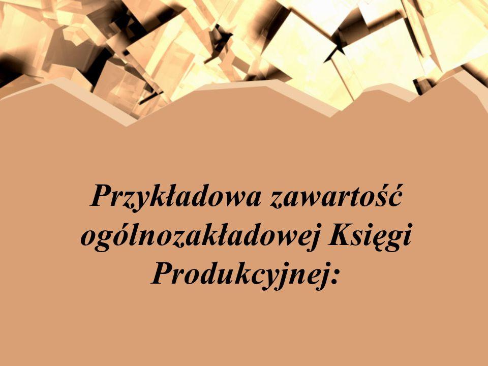 Przykładowa zawartość ogólnozakładowej Księgi Produkcyjnej: