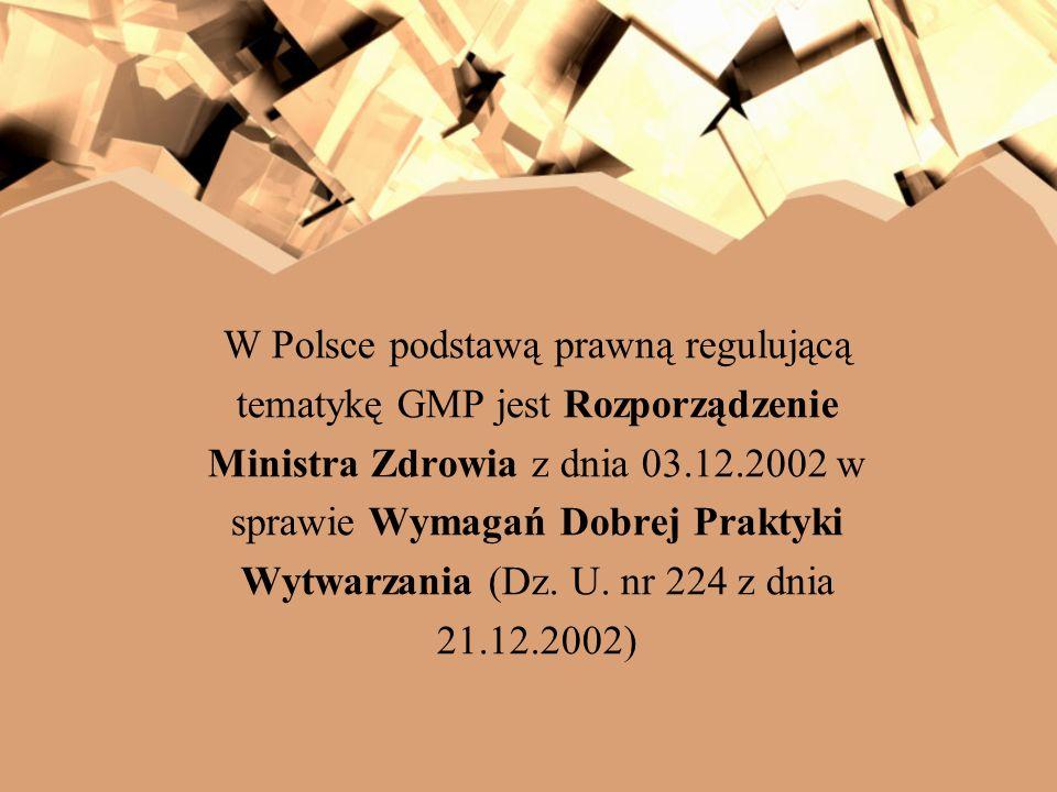 W Polsce podstawą prawną regulującą tematykę GMP jest Rozporządzenie