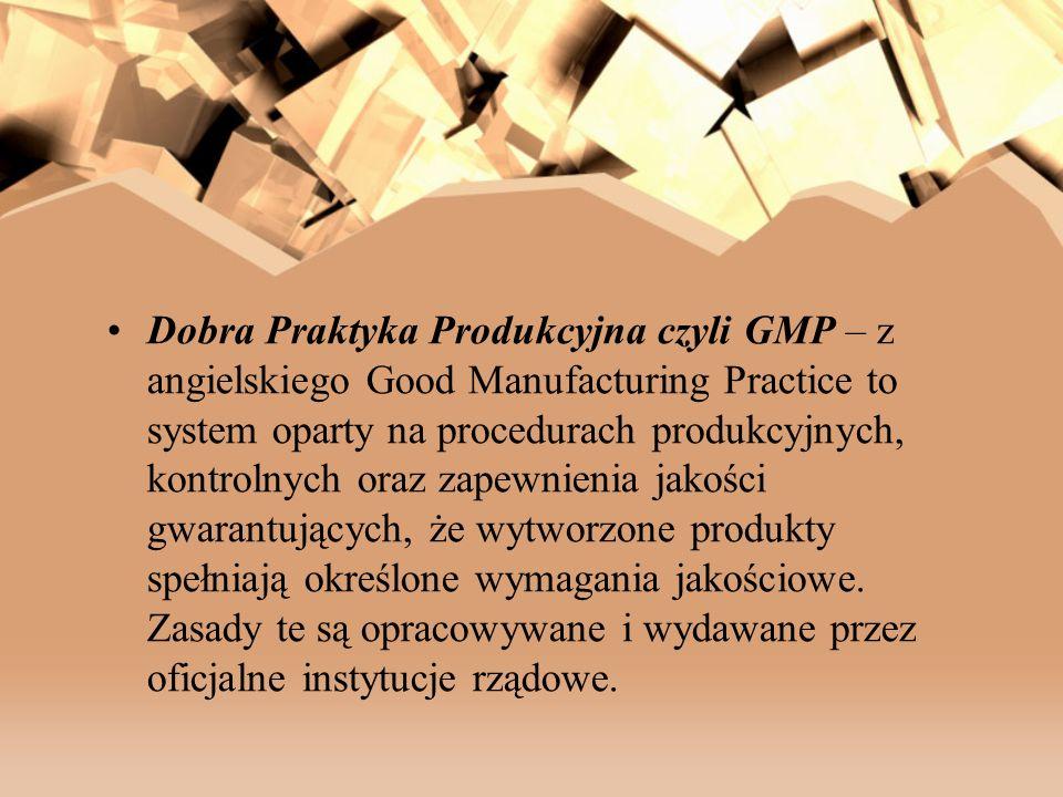 Dobra Praktyka Produkcyjna czyli GMP – z angielskiego Good Manufacturing Practice to system oparty na procedurach produkcyjnych, kontrolnych oraz zapewnienia jakości gwarantujących, że wytworzone produkty spełniają określone wymagania jakościowe.