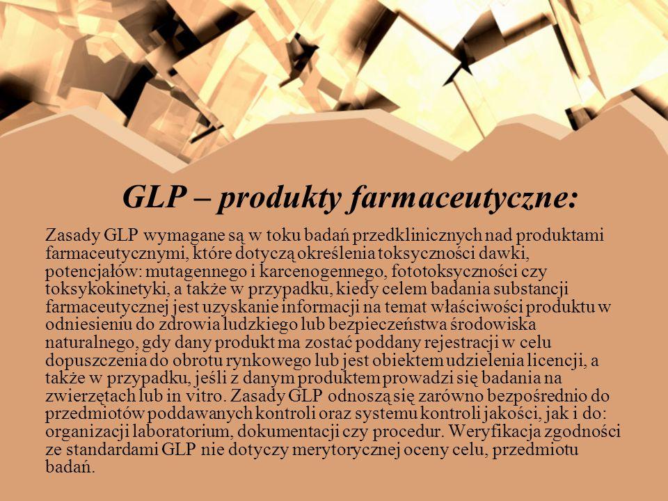 GLP – produkty farmaceutyczne: