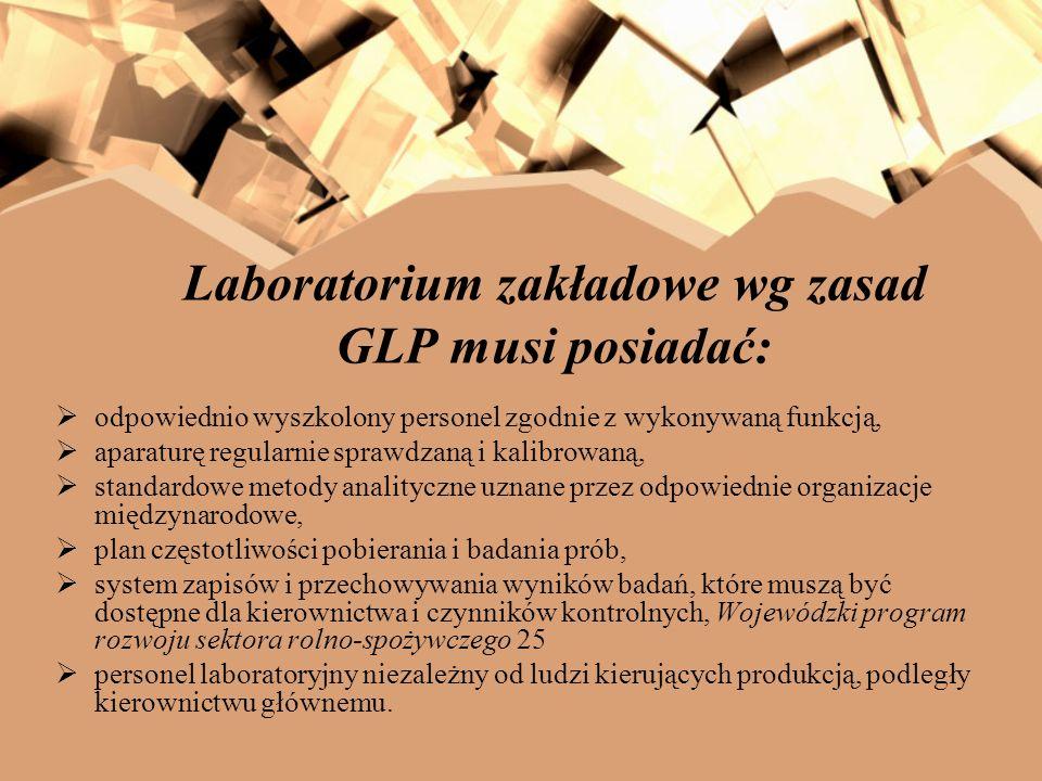 Laboratorium zakładowe wg zasad GLP musi posiadać: