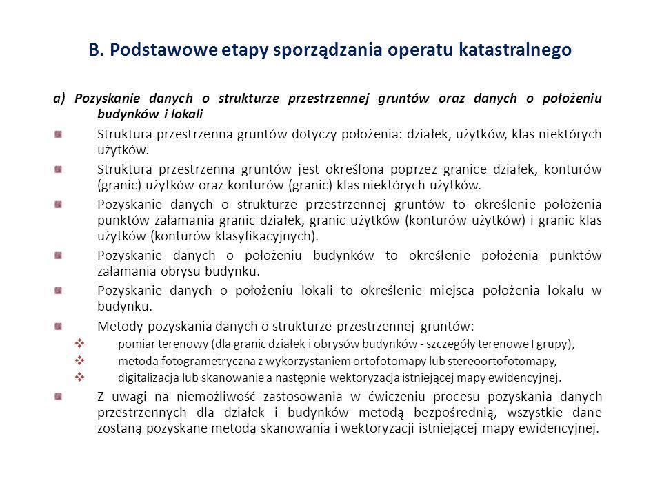 B. Podstawowe etapy sporządzania operatu katastralnego