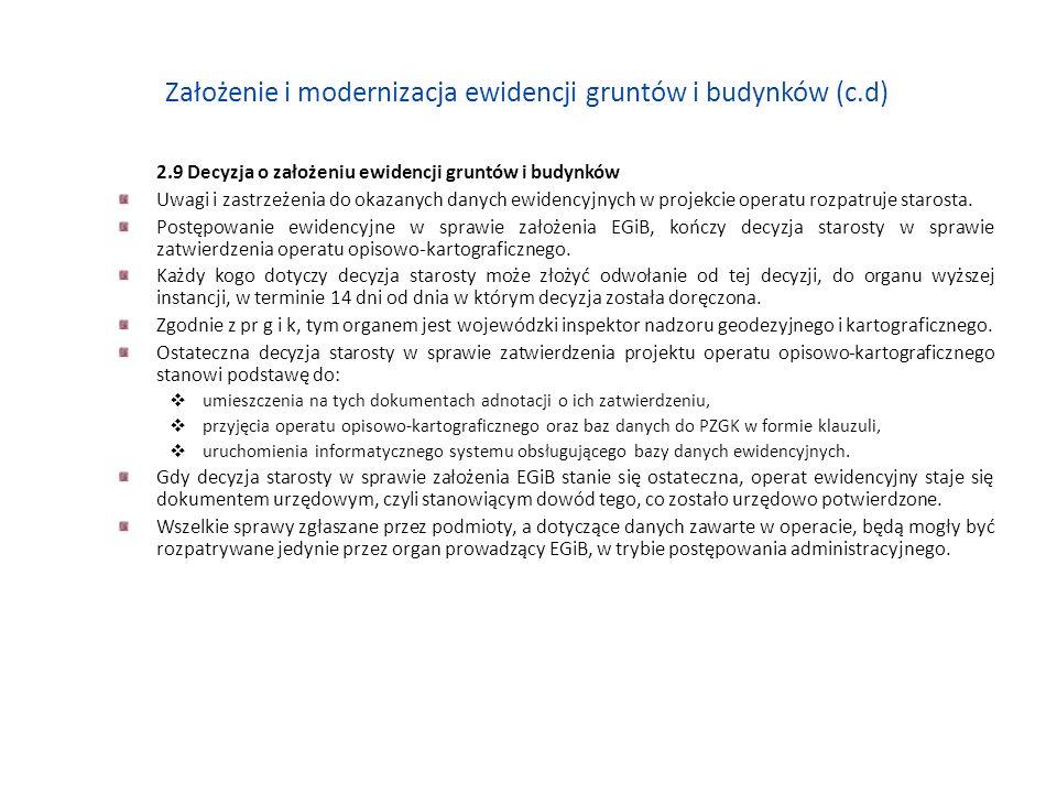 Założenie i modernizacja ewidencji gruntów i budynków (c.d)