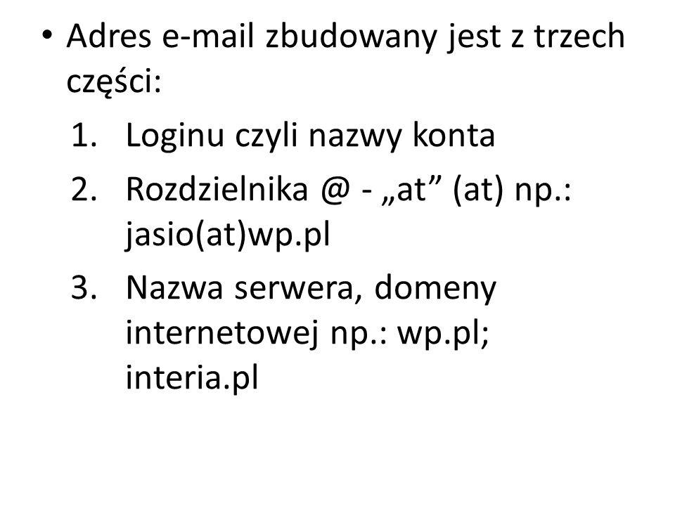 Adres e-mail zbudowany jest z trzech części: