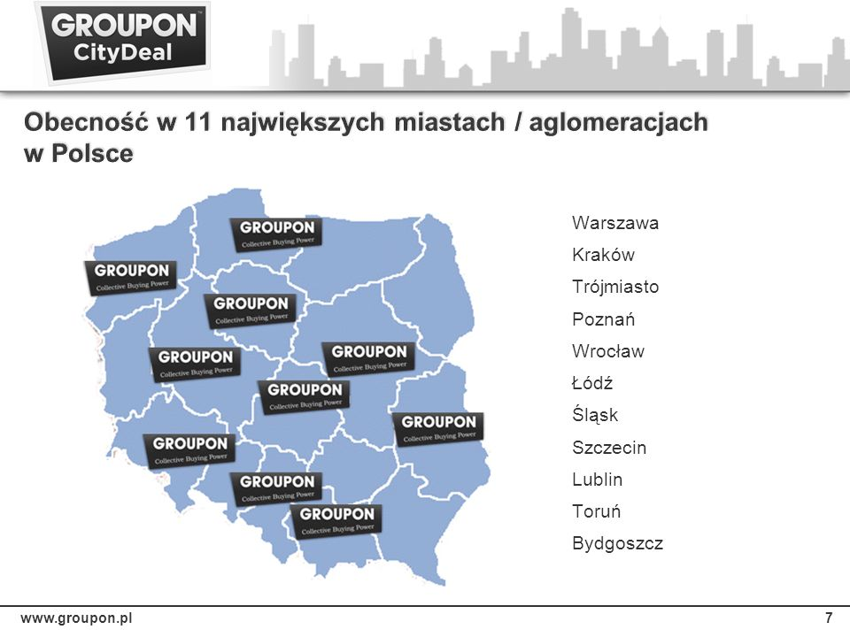 Obecność w 11 największych miastach / aglomeracjach w Polsce