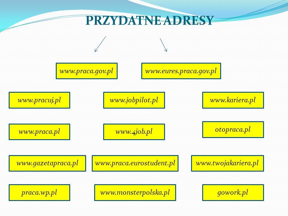 PRZYDATNE ADRESY www.praca.gov.pl www.eures.praca.gov.pl www.pracuj.pl