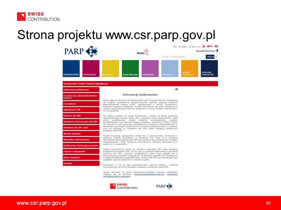 Strona projektu www.csr.parp.gov.pl