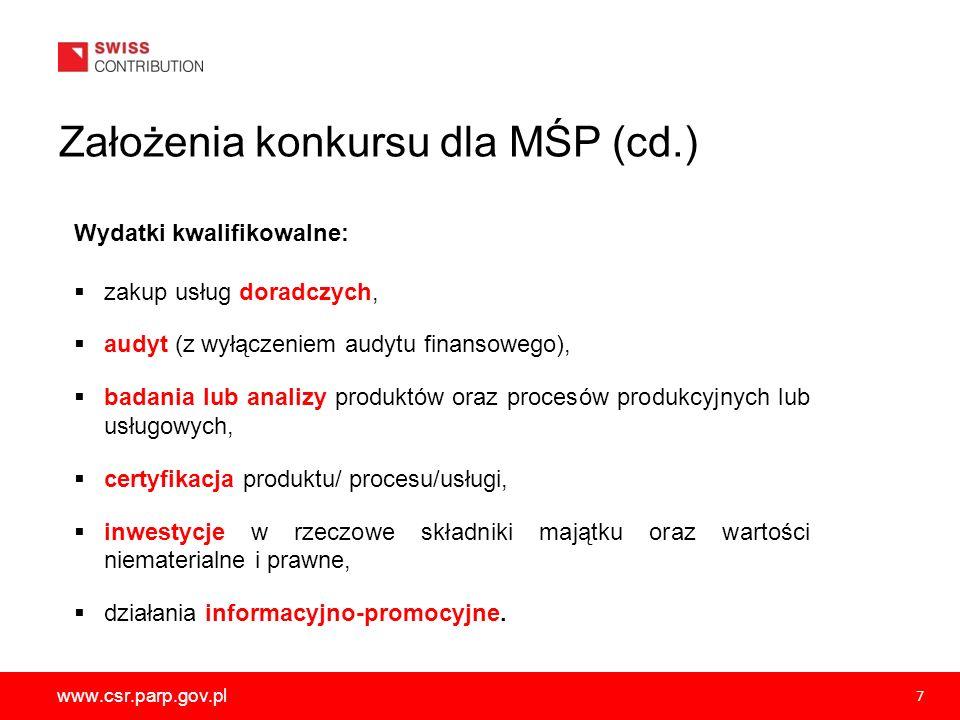 Założenia konkursu dla MŚP (cd.)