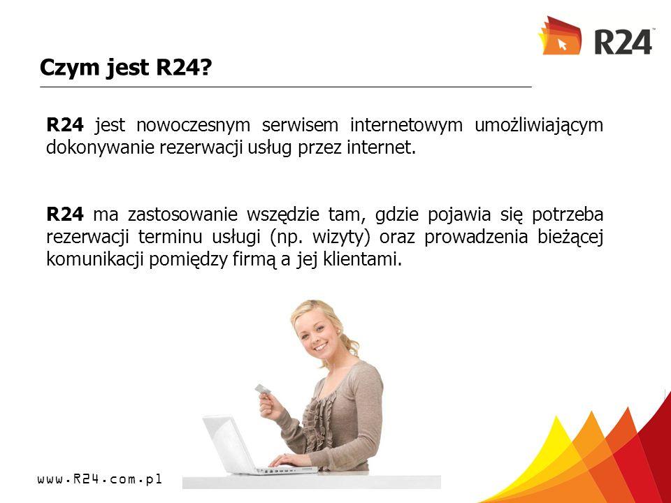 Czym jest R24 R24 jest nowoczesnym serwisem internetowym umożliwiającym dokonywanie rezerwacji usług przez internet.