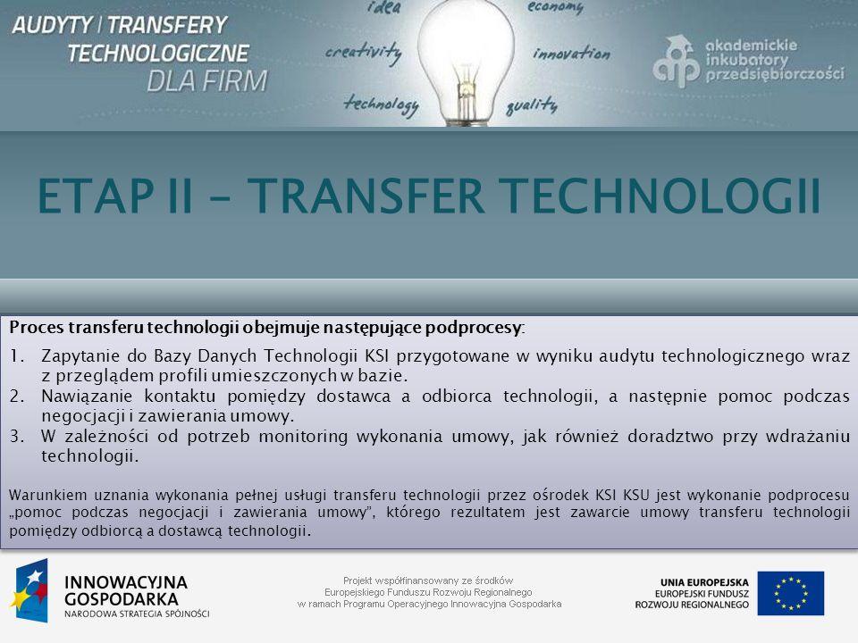 ETAP II – TRANSFER TECHNOLOGII