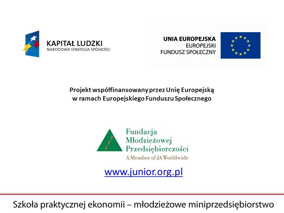 www.junior.org.pl Projekt współfinansowany przez Unię Europejską