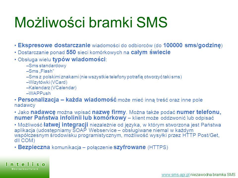 Możliwości bramki SMS Ekspresowe dostarczanie wiadomości do odbiorców (do 100000 sms/godzinę)