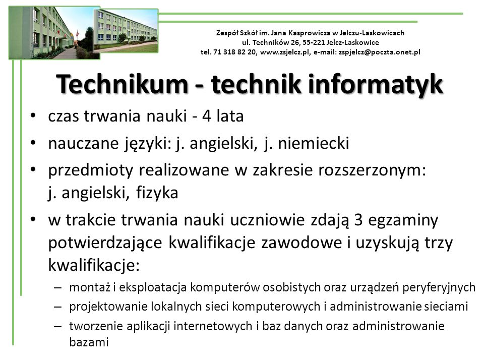 Technikum - technik informatyk