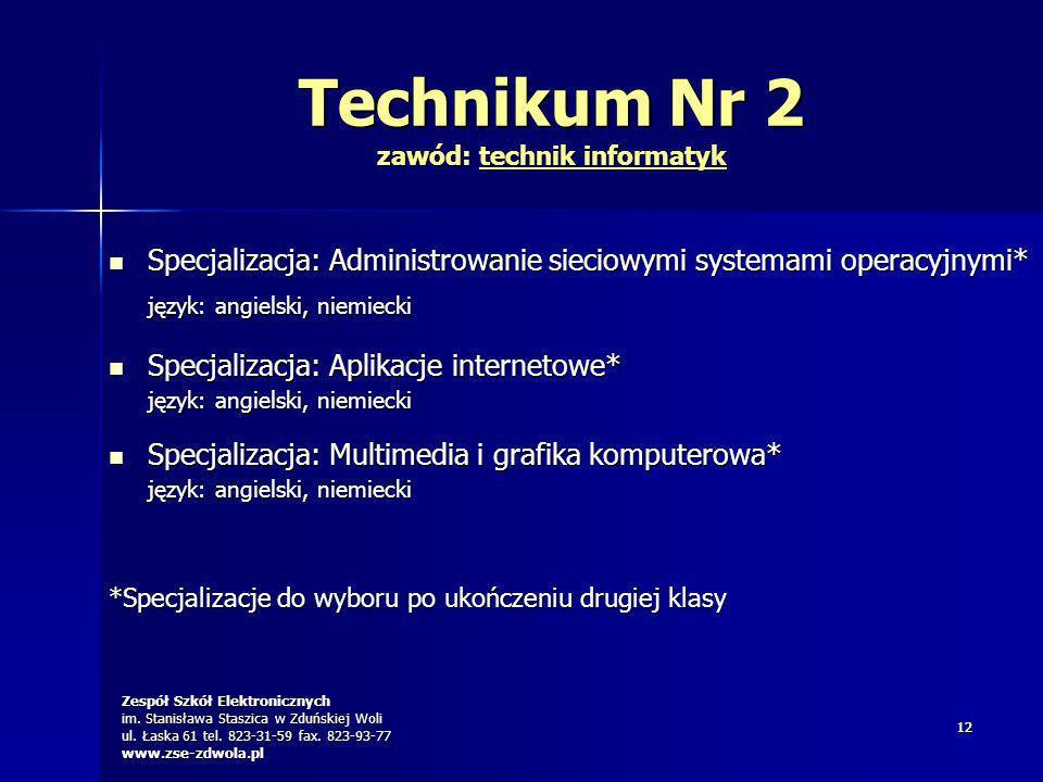 Technikum Nr 2 zawód: technik informatyk