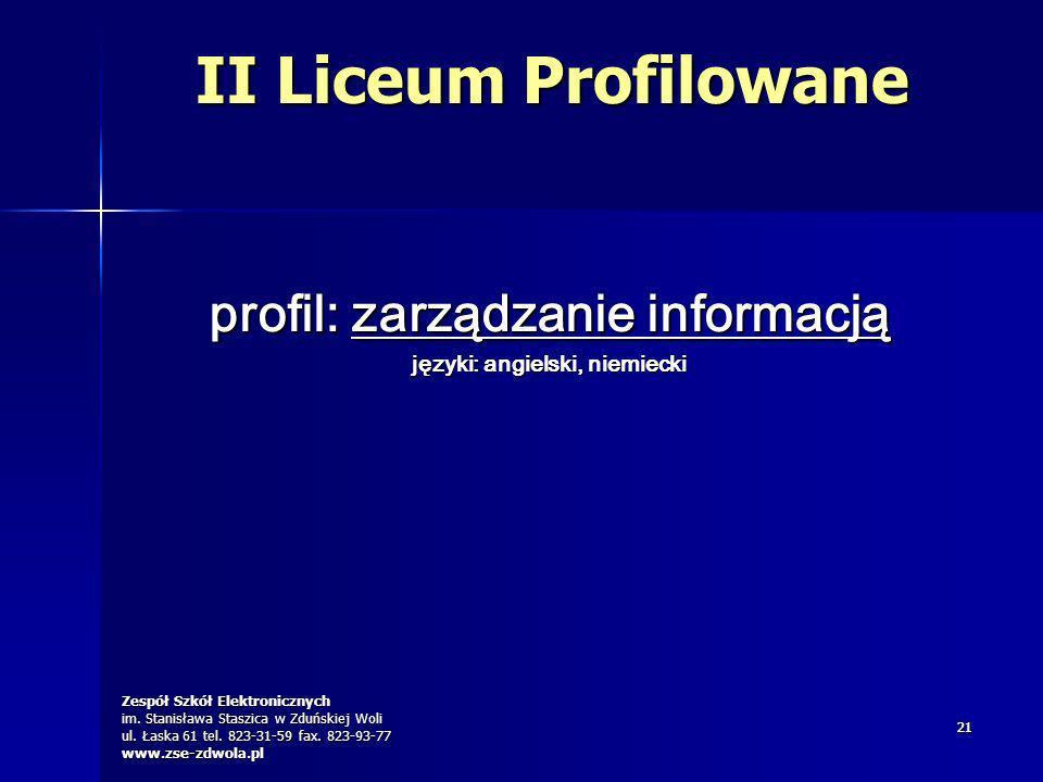 profil: zarządzanie informacją języki: angielski, niemiecki