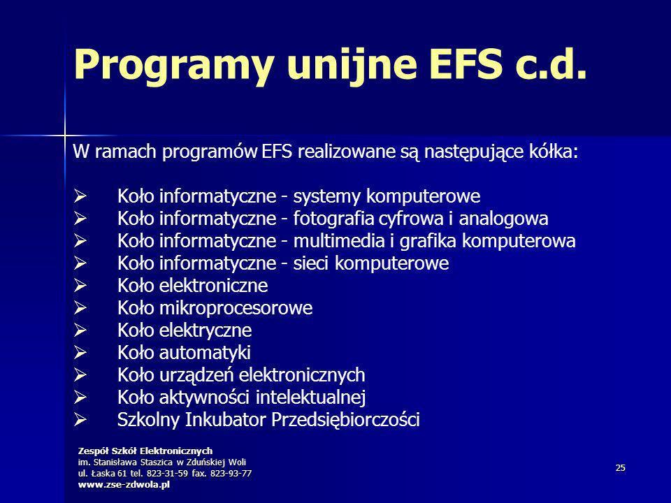 Programy unijne EFS c.d. W ramach programów EFS realizowane są następujące kółka: Koło informatyczne - systemy komputerowe.