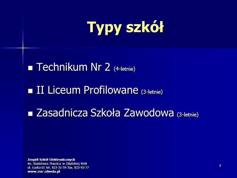 Typy szkół Technikum Nr 2 (4-letnie) II Liceum Profilowane (3-letnie)