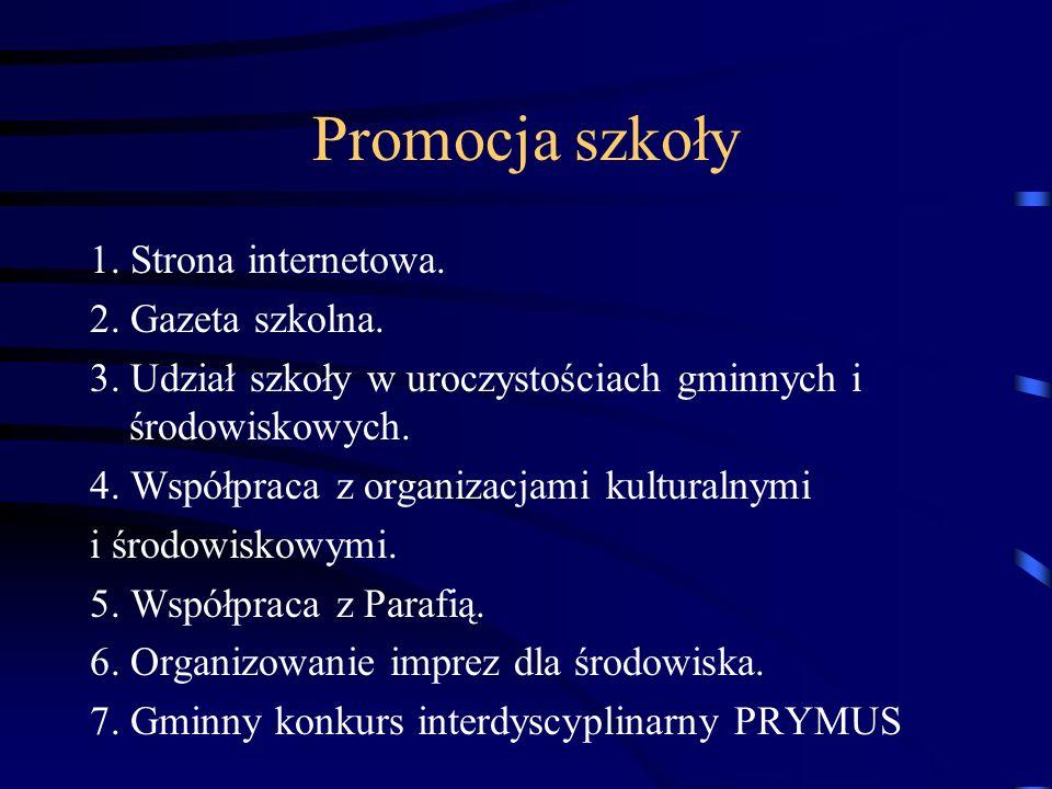 Promocja szkoły 1. Strona internetowa. 2. Gazeta szkolna.
