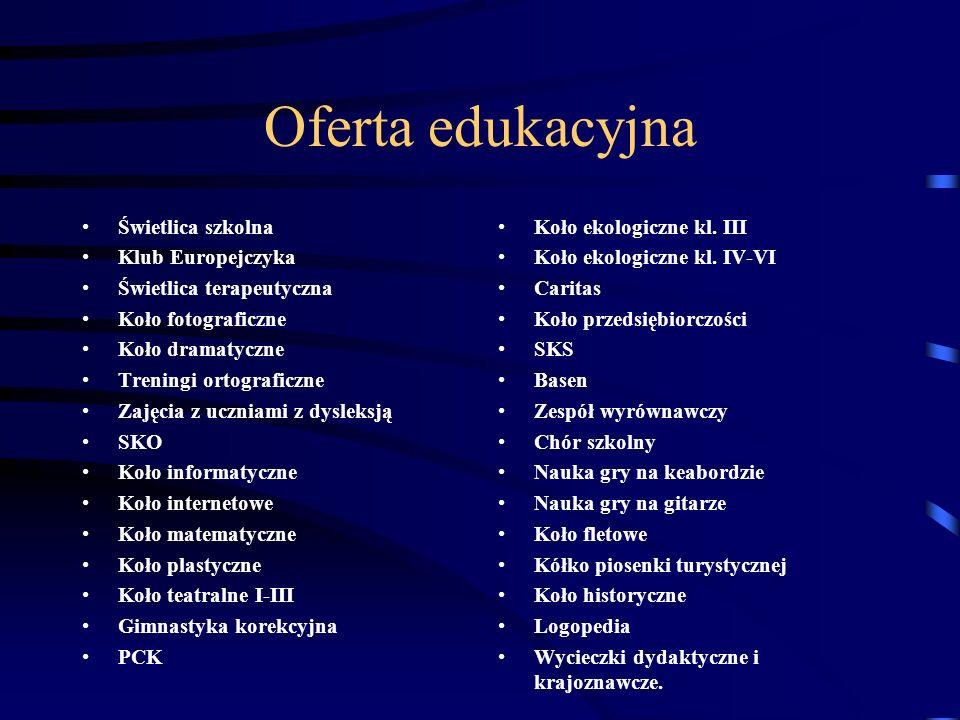 Oferta edukacyjna Świetlica szkolna Klub Europejczyka