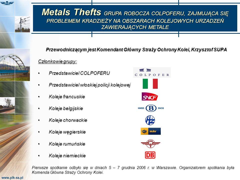 Metals Thefts GRUPA ROBOCZA COLPOFERU, ZAJMUJĄCA SIĘ PROBLEMEM KRADZIEŻY NA OBSZARACH KOLEJOWYCH URZADZEŃ ZAWIERAJĄCYCH METALE