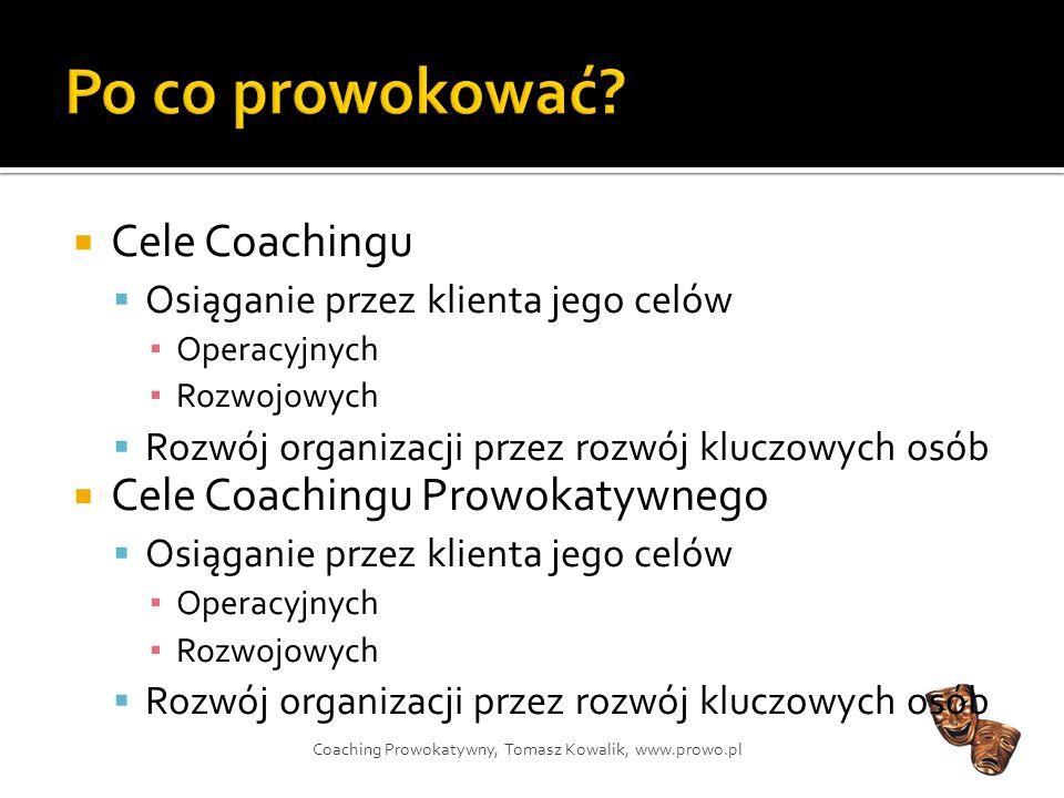 Po co prowokować Cele Coachingu Cele Coachingu Prowokatywnego