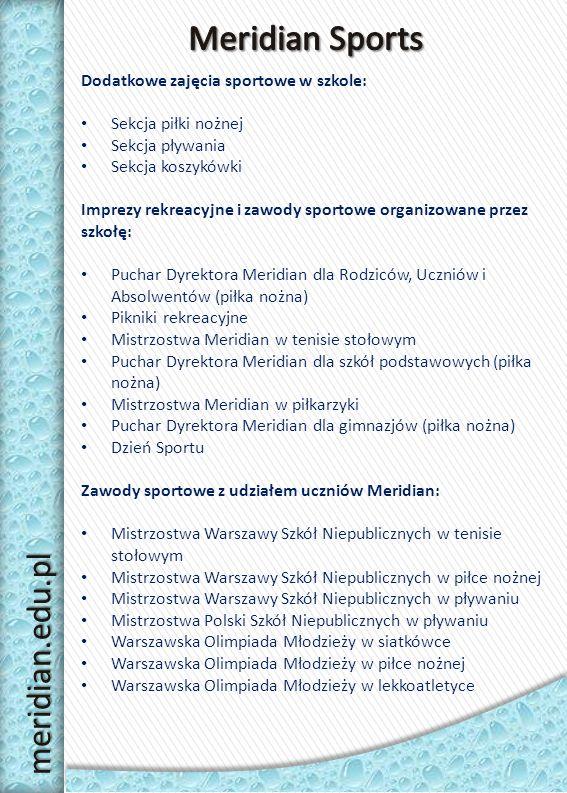 Meridian Sports meridian.edu.pl Dodatkowe zajęcia sportowe w szkole: