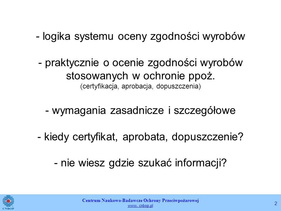 - logika systemu oceny zgodności wyrobów - praktycznie o ocenie zgodności wyrobów stosowanych w ochronie ppoż. (certyfikacja, aprobacja, dopuszczenia) - wymagania zasadnicze i szczegółowe - kiedy certyfikat, aprobata, dopuszczenie - nie wiesz gdzie szukać informacji