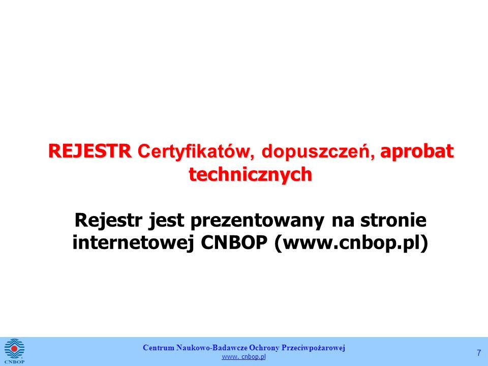 REJESTR Certyfikatów, dopuszczeń, aprobat technicznych Rejestr jest prezentowany na stronie internetowej CNBOP (www.cnbop.pl)
