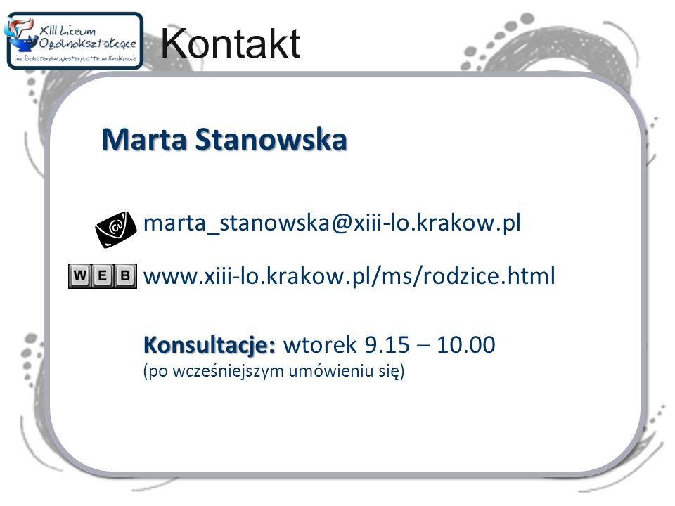 Kontakt marta_stanowska@xiii-lo.krakow.pl
