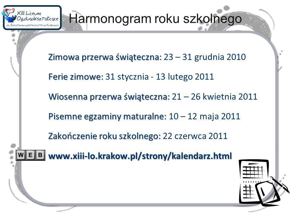 Harmonogram roku szkolnego