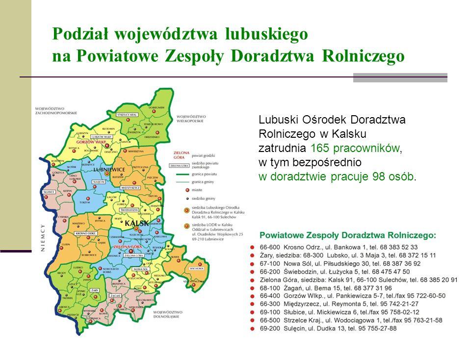 Podział województwa lubuskiego na Powiatowe Zespoły Doradztwa Rolniczego