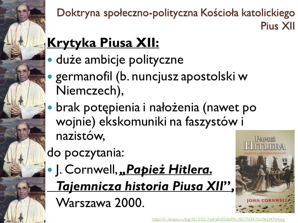 Doktryna społeczno-polityczna Kościoła katolickiego Pius XII