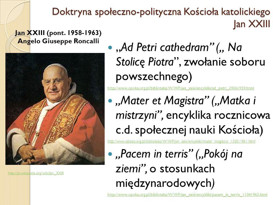 Doktryna społeczno-polityczna Kościoła katolickiego Jan XXIII