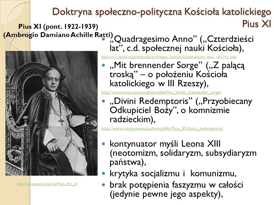 Doktryna społeczno-polityczna Kościoła katolickiego Pius XI