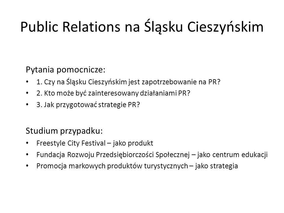 Public Relations na Śląsku Cieszyńskim