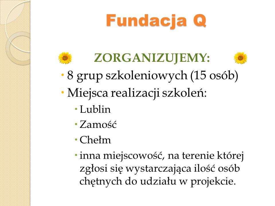 Fundacja Q ZORGANIZUJEMY: 8 grup szkoleniowych (15 osób)