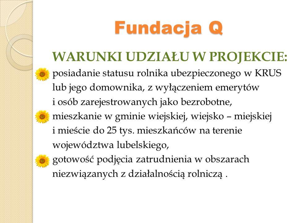 Fundacja Q WARUNKI UDZIAŁU W PROJEKCIE:
