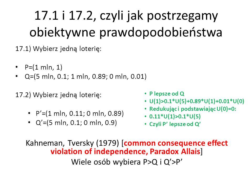 17.1 i 17.2, czyli jak postrzegamy obiektywne prawdopodobieństwa