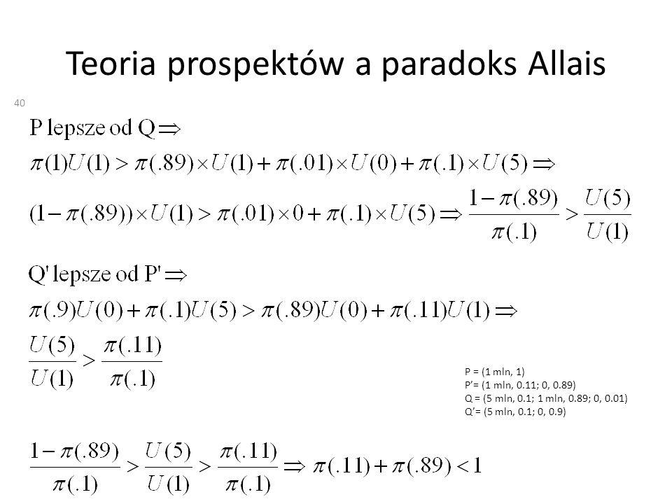 Teoria prospektów a paradoks Allais