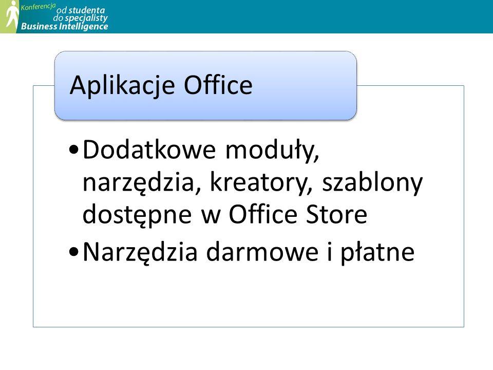 Dodatkowe moduły, narzędzia, kreatory, szablony dostępne w Office Store