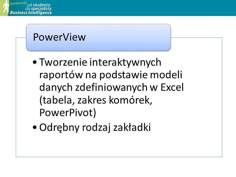 Tworzenie interaktywnych raportów na podstawie modeli danych zdefiniowanych w Excel (tabela, zakres komórek, PowerPivot)