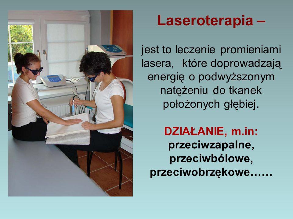 Laseroterapia – jest to leczenie promieniami lasera, które doprowadzają energię o podwyższonym natężeniu do tkanek położonych głębiej.