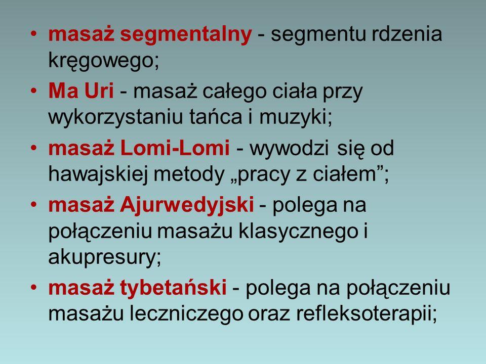 masaż segmentalny - segmentu rdzenia kręgowego;