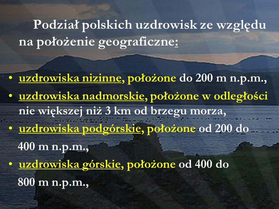 Podział polskich uzdrowisk ze względu na położenie geograficzne: