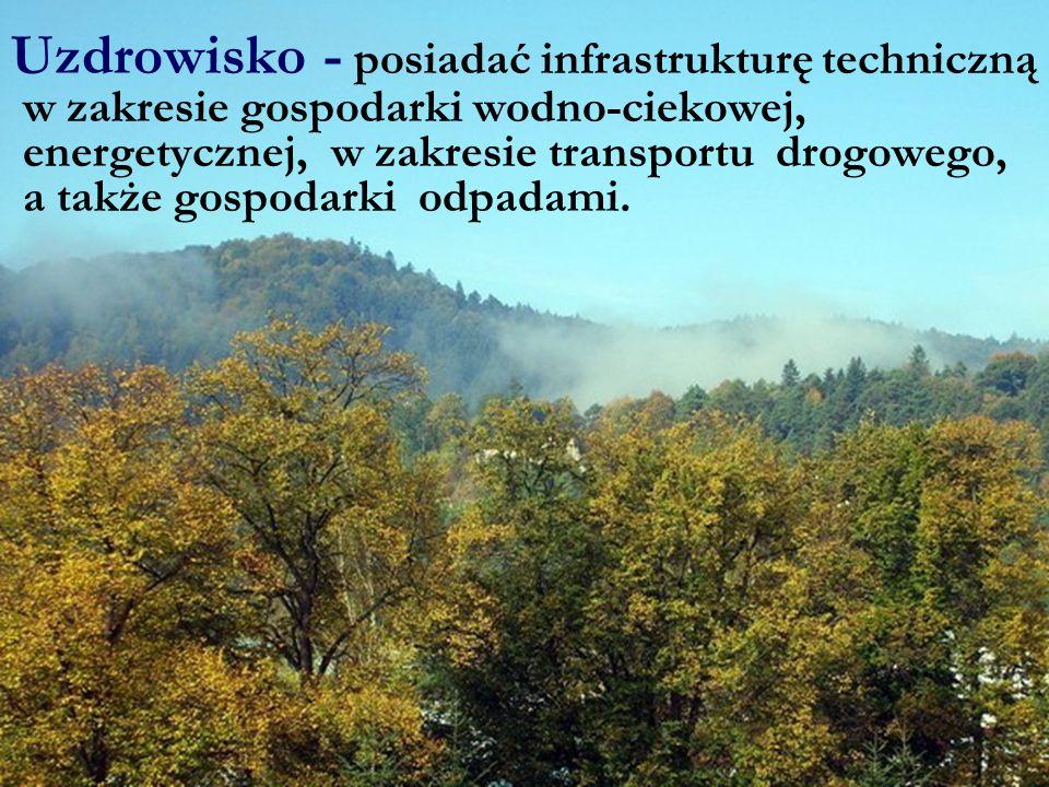 Uzdrowisko - posiadać infrastrukturę techniczną w zakresie gospodarki wodno-ciekowej, energetycznej, w zakresie transportu drogowego, a także gospodarki odpadami.