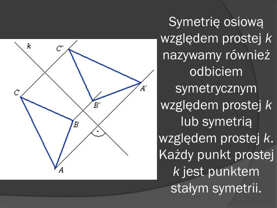 Symetrię osiową względem prostej k nazywamy również odbiciem symetrycznym względem prostej k lub symetrią względem prostej k.